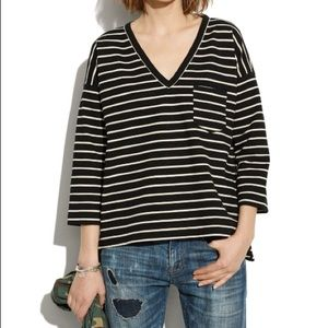 Madewell Side Zip Pointe Striped High Low Top